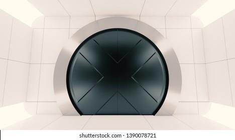 Futuristic metallic door. Sci fi round heavy door in futuristic clear white room 3D render