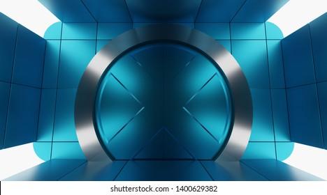Futuristic metallic door. Sci fi round heavy door in futuristic blue room 3D render