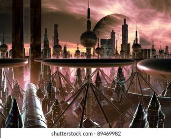Futuristic Metropolis on Distant World