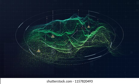 Futuristic military concept for head up display with holographic terrain, user interface readout, targeting and tracking enemy in digital cyber space background