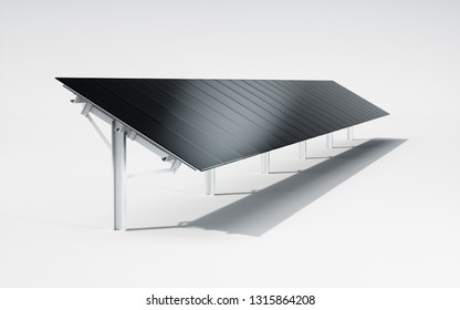 Futuristic, modern and aesthetic black monocrystalline solar panel system on white background. 3d illustration.