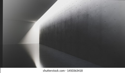 Futuristic and Modern dark interior with empty walls and concret floor. Concept of interior design and architecture. 3d rendering.