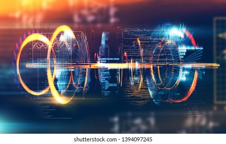 Futuristic and modern design of prototype.Code and numbers for computing and quantum communication concept.Technology and engineering abstract background.3d illustration
