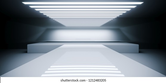 Futuristic Modern Empty Sci Fi Reflective Room With White Led Lights And Stage Arena Background Spaceship Concept 3D Rendering Illustration