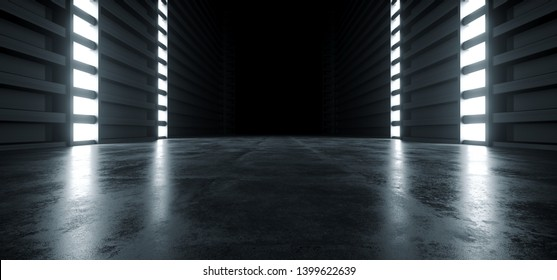 Futuristic Modern Sci Fi Concrete Hallway Corridor Tunnel Warehouse Underground Garage Grunge Dark Empty Reflection Showcase Stage White Blue Glow Spaceship 3D Rendering Illustration
