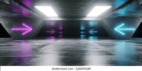 Futuristic Modern Sci Fi Dark Empty Grunge Concrete Underground Empty Tunnel Corridor Garage With Purple Glowing Neon Tube Pointing Arrows Background 3D Rendering  Illustration