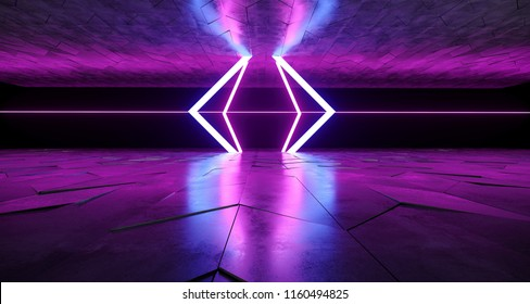 Futuristic Modern Sci-Fi Neon Tube Glowing Shapes On Rough Concrete Surface And Empty Space Between Purple And Blue Colors 3D Rendering Illustration