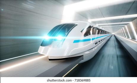 futuristic modern train, monorail fast driving in sci fi tunnel, coridor. Concept of future. 3d rendering.