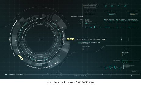 Futuristic motion graphic user interface head up display screen with Holographic Earth and digital data telemetry information display for digital background computer desktop display screen