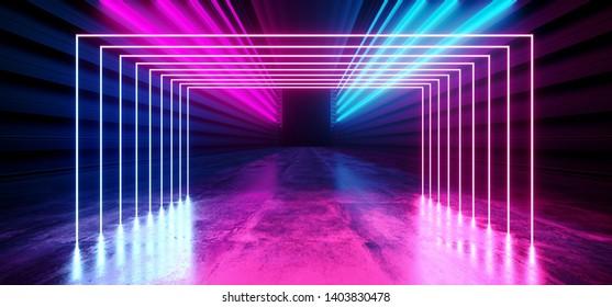 Futuristic Neon Dark Stage Construction Glow Purple Blue Retro Modern Sci Fi  Future Tunnel Corridor Hallway Grunge Concrete Reflection Shapes Fluorescent Lasers 3D Rendering Illustration