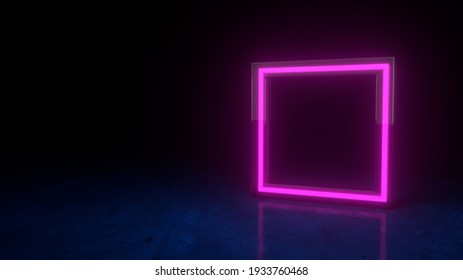 Futuristic neon glowing purple square symbol on black dark background with blurred reflection. Form glass rim. Geometric shape element. Neon frame sign in the shape of a square. 3d render