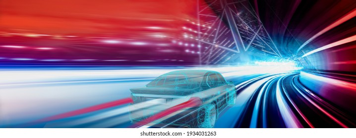 Futuristic neon highway with car