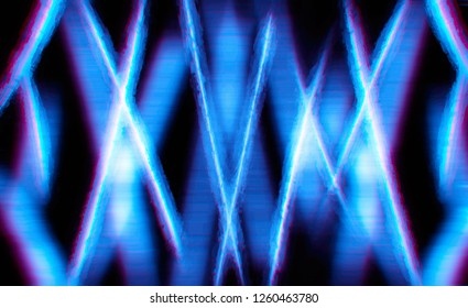 Futuristic neon lines abstract illustration with chromatic aberration background