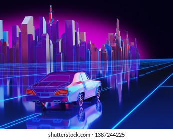 Futuristic Neon Night City Background. 3D illustration