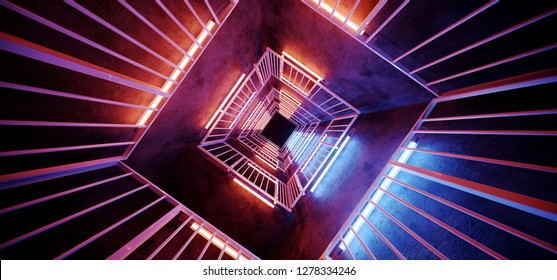 Futuristic Neon Tube Glowing Sci Fi Modern Alien Metal Rectangle Shaped Structure Empty Tunnel Corridor Vibrant Colors Orange Blue Purple Background 3D Rendering Illustration