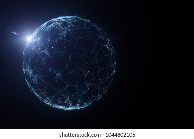 Futuristic network globe with lines, dots and sunlight illustration, view from space.
