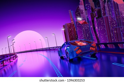 Futuristic Night City Background. 3D illustration