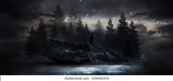 Futuristic night landscape with abstract landscape and island, moonlight, shine. Dark natural scene with reflection of light in the water, neon blue light. 3D illustration