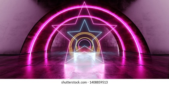 Futuristic Oval Circle Neon Glowing Purple Blue Stars Shaped Laser Beam Lights On Concrete Grunge Floor Reflective Tunnel Corridor Dark Entrance Stage 3D Rendering Illustration