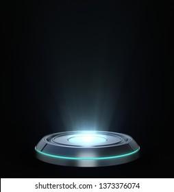 Futuristic Pedestal, Hologram, Technology Background. 3D Rendering