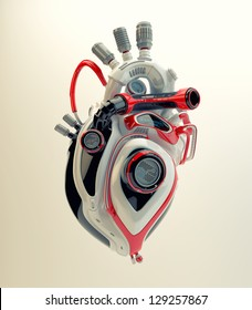 Futuristic plastic heart. 3d render / Robotic engine heart