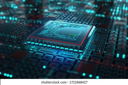 Futuristic processor, CPU 3D illustration. A quantum computer is a global digital network. Processing and storage of big data in modern cyberspace