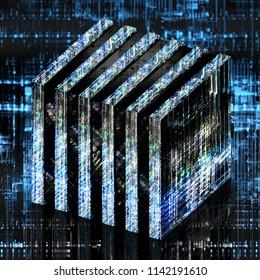 Futuristic quantum computer in a cube shape. 3d illustration