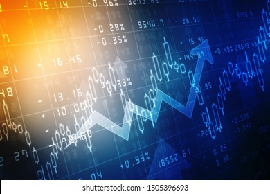Futuristic raise arrow chart digital transformation abstract technology background. Big data and business growth currency stock and investment economy