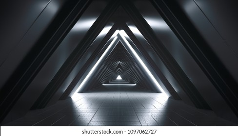 Futuristic Realistic Large Sci-FI Corridor With White Lights And Reflections. 3D Rendering