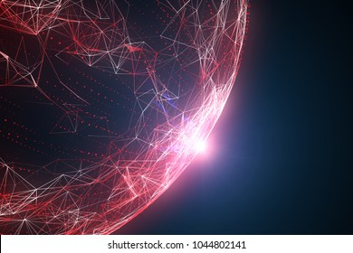 Futuristic red colored abstract network globe with flare of light, view from space. Illustration background