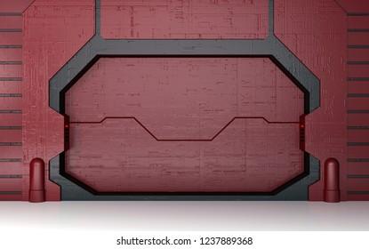 Futuristic red metallic door 3D render