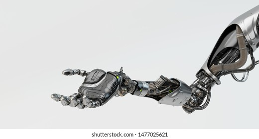 Futuristic replacement arm with gesturing palm, 3d rendering