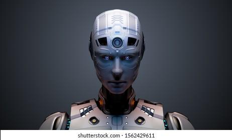 未来的なロボットまたは外国人のポートレート。色の背景に分離型。3Dイラスト