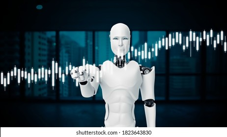 Futuristic robot, artificial intelligence CGI for stock exchange market trading . Robotic man 3D render animation . 3D illustration .