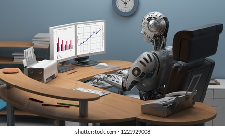 Futuristic robot or cyborg working at office using computer, studying business ideas on a pc screen. 3D illustration.