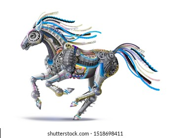 futuristic robot of equipment details . the power of computer technologies, communication systems in the mechanical body of a steel horse. runs a gallop, blue mane. blue mane. CG, draw, 3d
