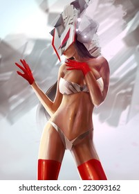 Futuristic robot girl. Sci-fi cyber woman with red gloves posing illustration.
