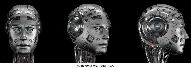 Futuristic robot head from different angles. Isolated on black background. 3D Render.