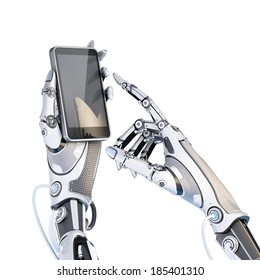 Futuristic robot holding glossy smartphone with artifical hand and touching it by finger isolated on white background.