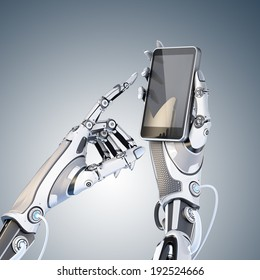 Futuristic robot holding glossy smartphone with artificial hand and touching it by finger isolated on white background.