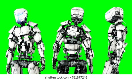 Futuristic robot isolate on green screen. Realistic 3d render.