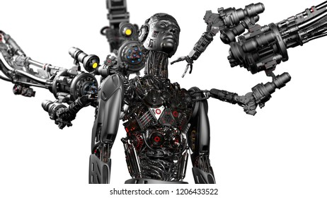 Futuristic Robot Man or cyborg is being constructed by robotic arms or mechanical hands. Isolated on white background. 3D Render.