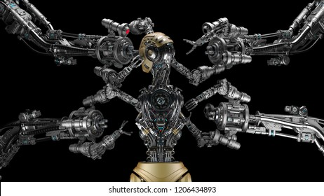 Futuristic Robot Man or cyborg is being constructed by robotic arms or mechanical hands. Isolated on black background. 3D Render.