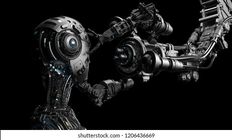 Futuristic Robot Man or cyborg is being constructed by robotic arm or mechanical hand. Isolated on black background. 3D Render.