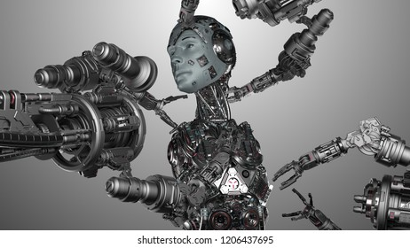 Futuristic Robot Man or cyborg is being constructed by robotic arms or mechanical hands. Isolated on gray background. 3D Render.