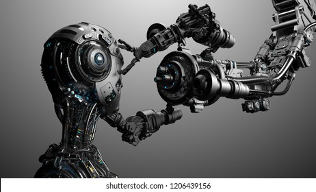 Futuristic Robot Man or cyborg is being constructed by robotic arm or mechanical hand. Isolated on gray background. 3D Render.