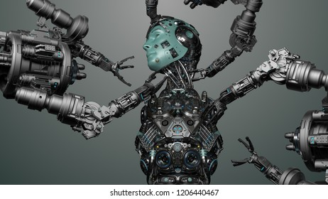 Futuristic Robot Man or cyborg is being constructed by robotic arms or mechanical hands. 3D Render.