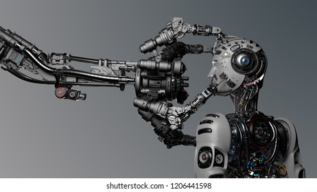 Futuristic Robot Man or cyborg is being constructed by robotic arm or mechanical hand. 3D Render.