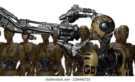 Futuristic Robot Man or cyborg is being constructed by robotic arm or mechanical hand. Isolated on white background. 3D Render.