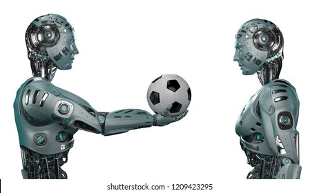 Futuristic robot man giving a soccer ball to another robot or cyborg. Isolated on white background. 3D Render.